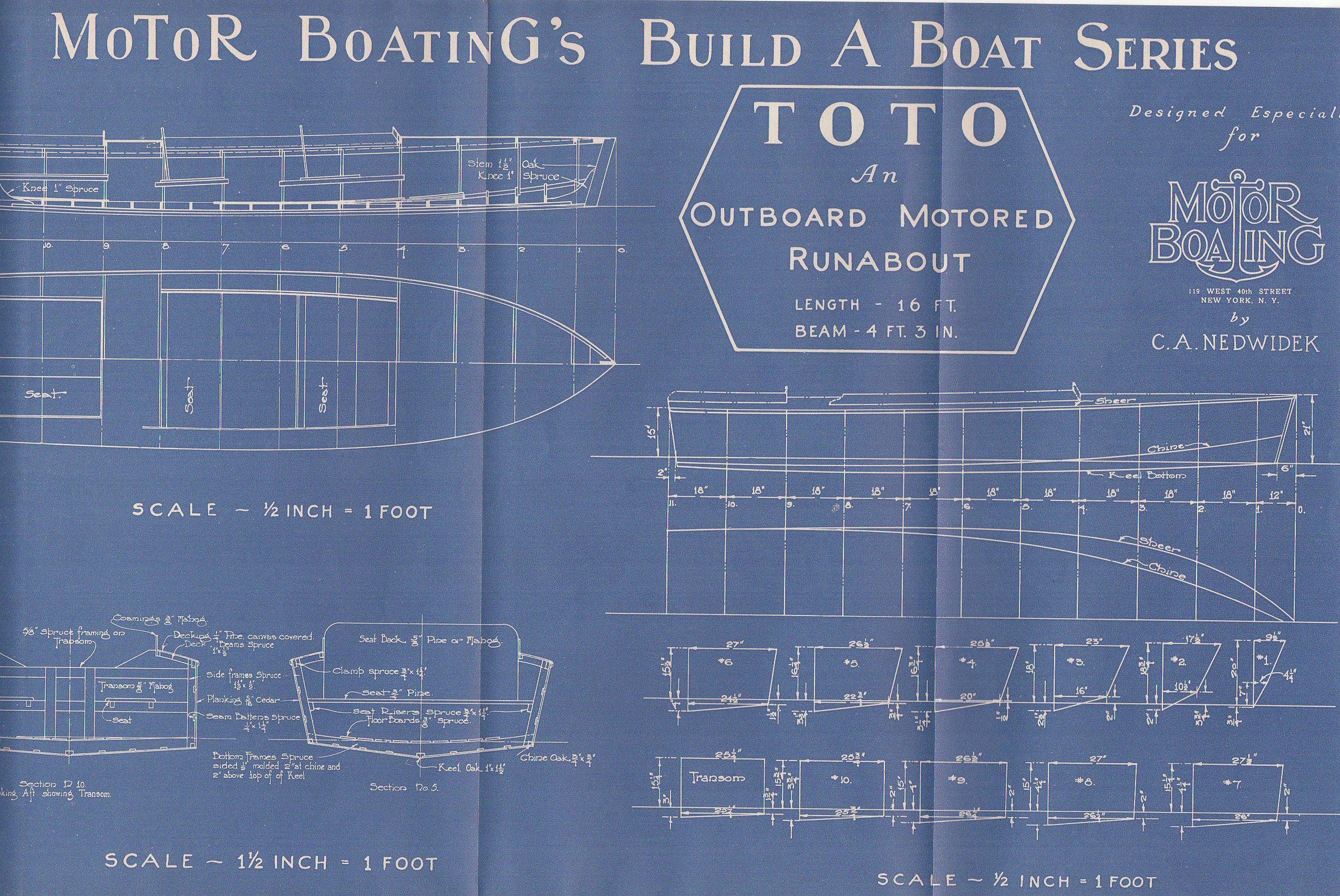 Jahrgang Motor Boot Schiff Vintage Plan c.1940s äußeren