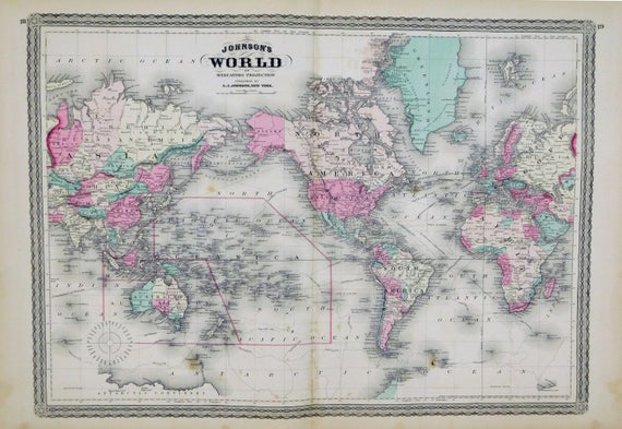 1873 Antique World Map Map Of The World Large World Map Etsy
