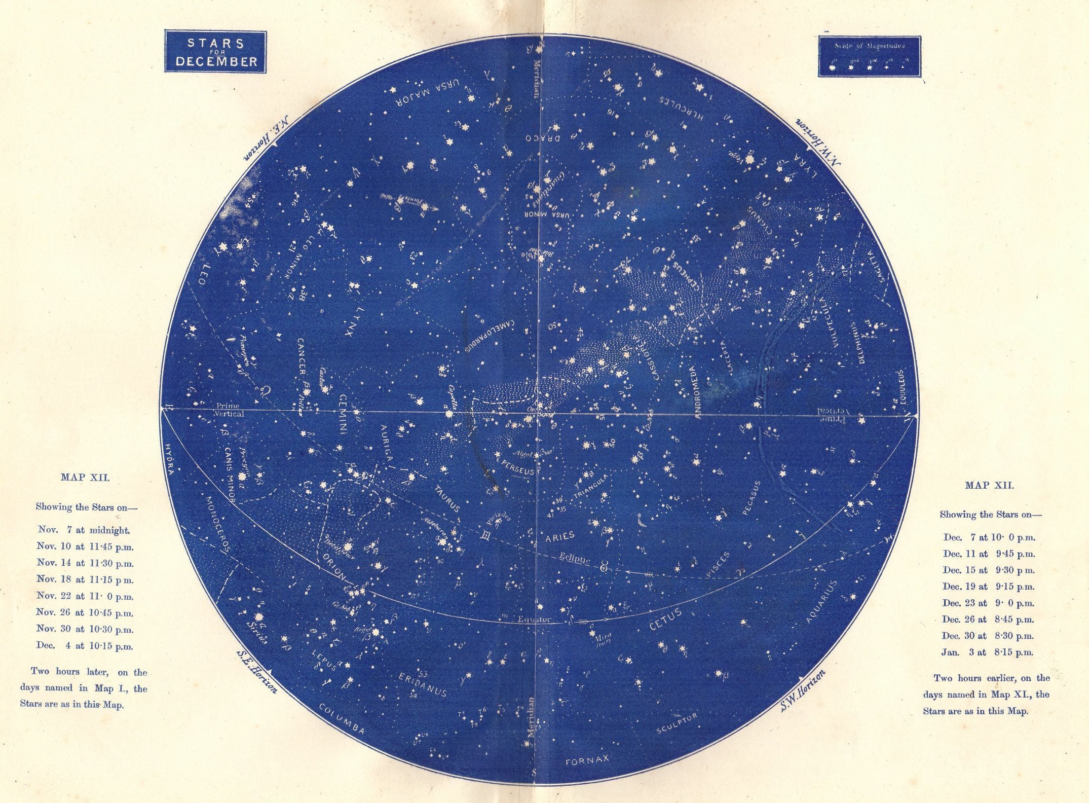 Star Map December Large Antique Astronomy Print Constellations - Vintage sf map