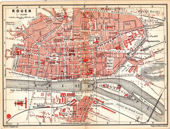 Rouen France Paris Map Antique Map France Geography