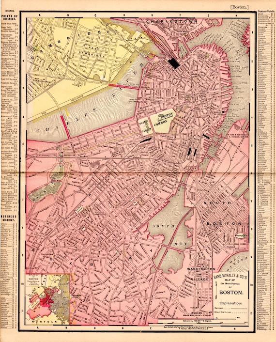 Antique Boston Map.1897 Antique Boston Map Vintage Boston Map Map Of Boston Etsy