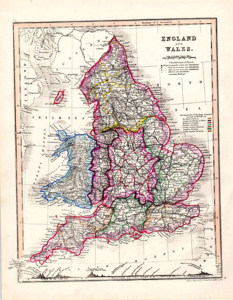 Map Of England And Wales.1853 Map Of England Antique England Map England Wales Etsy