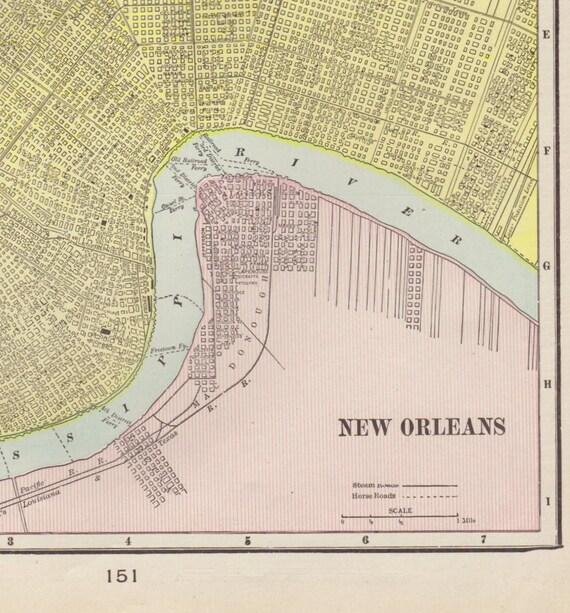 vintage new orleans map 1908 Antique New Orleans Map Vintage New Orleans Map Antique Etsy vintage new orleans map