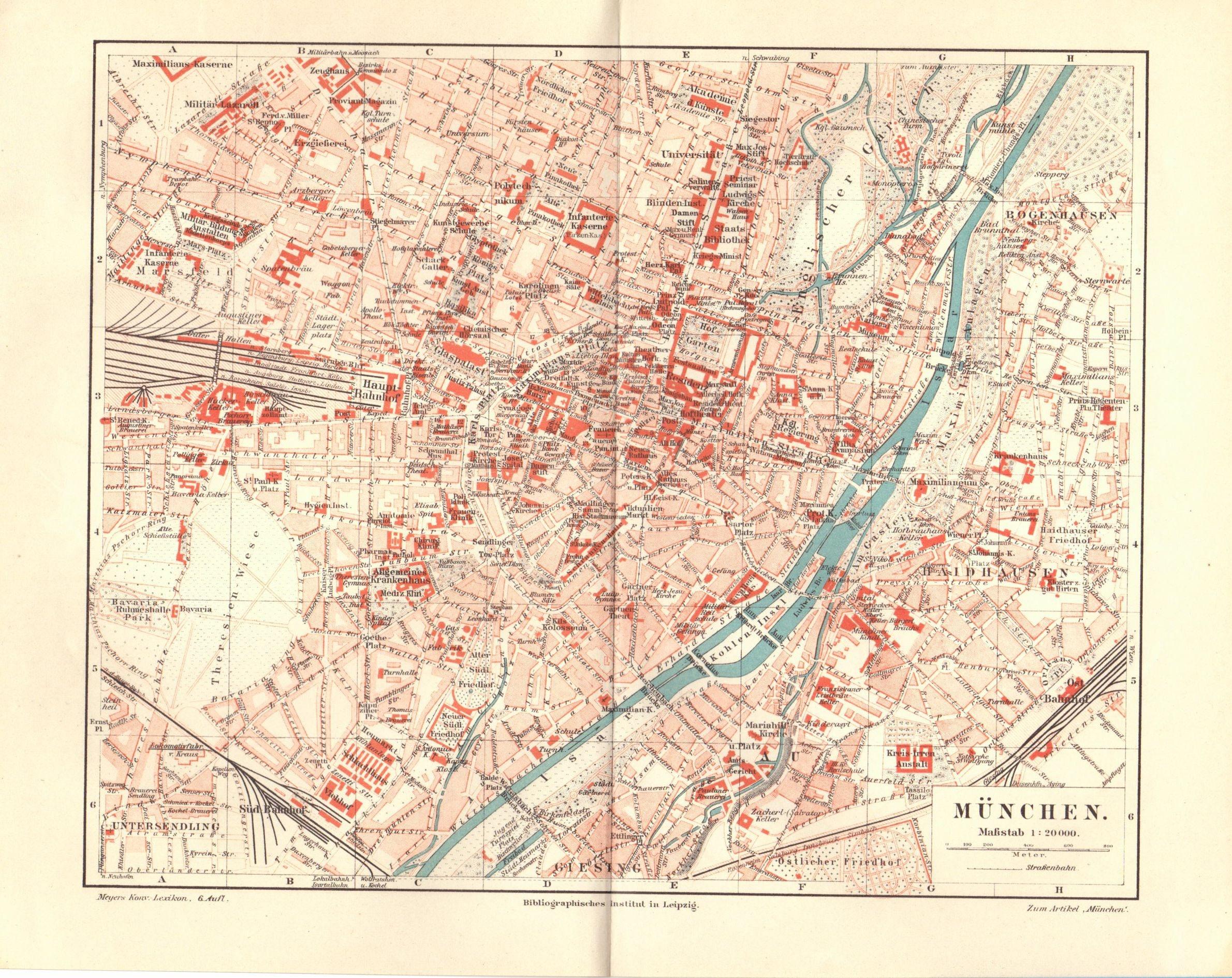 1904 Antique Map Munich Map Vintage Munich Map Antique Germany Map ...