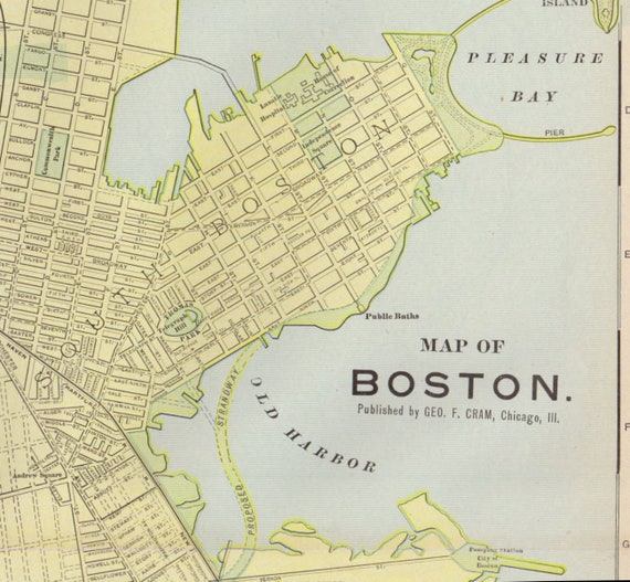 Antique Boston Map.Large 1908 Antique Boston Map Vintage Boston Map Map Of Etsy