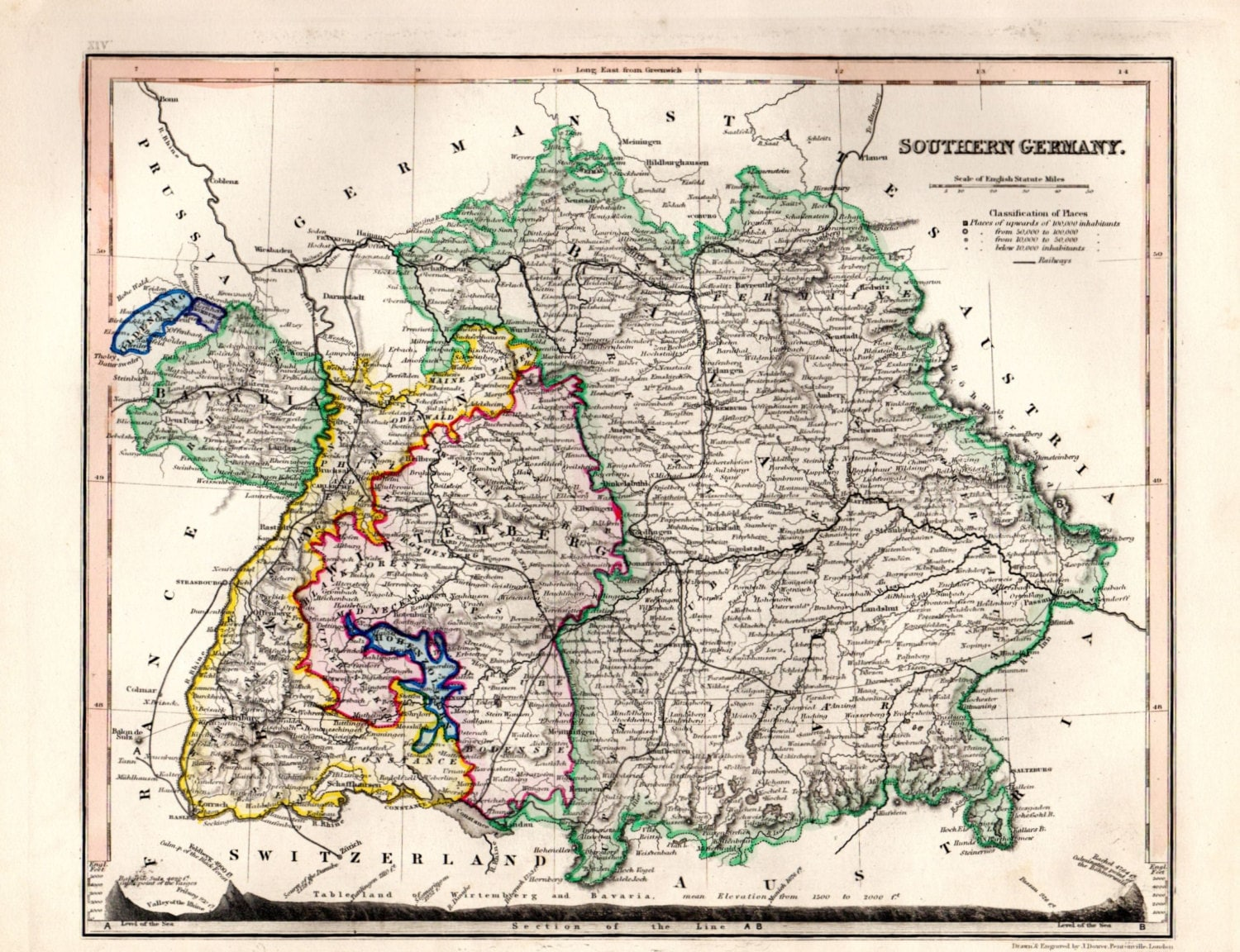 1853 Antique Germany map, Map of Germany, Southern ...