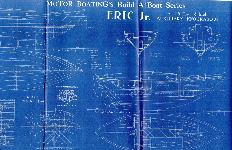 Antike Vintage Schiff Blueprint Blaupause c.1940s Boot