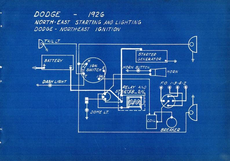 1927 Antique Blueprint Auto Car Dodge Engineering Wiring Mechanical Urban  Industrial Decor Vintage Car Print
