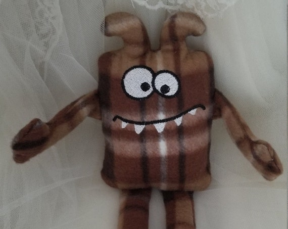 Brown Plaid Monster Stuffed Animal