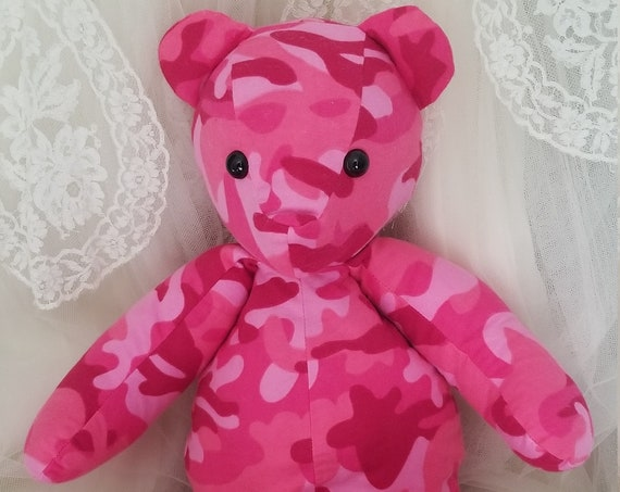 Pink Camouflage Stuffed Bear