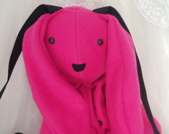 Neon Pink Bunny Backpack