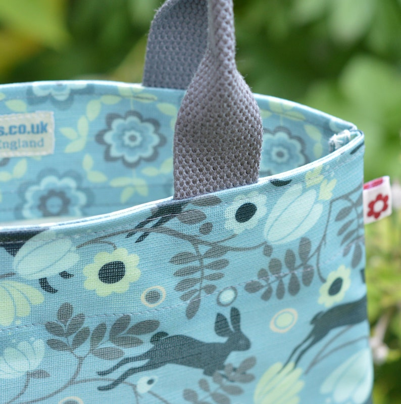 Wild Hare in Blue Oilcloth Tote Bag by Susie FaulksOilcloth Bags best vegan bags Original Print best oilcloth bags rabbit bunny vegan