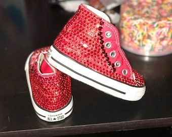 Converse- Red Blingy Shoes