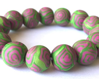 Polymer Clay Bead Bracelet; Lime Green; Swirl Beads; Millefiori; Stretch Bracelet