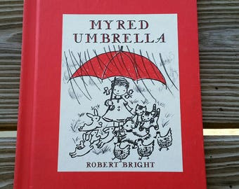 1959 My Red Umbrella by Robert Bright, Hardcover My Red Umbrella, Vintage Children's Book, 50's Children's Book, Vintage Collectible Book