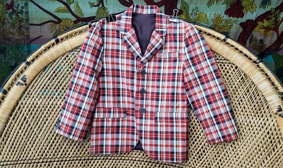 60s Boys Plaid Suit Jacket, Boys Christmas Suit Ja