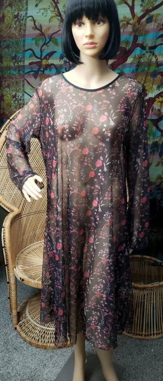 90s Sheer Black & Pink Floral Nightgown, Vintage S