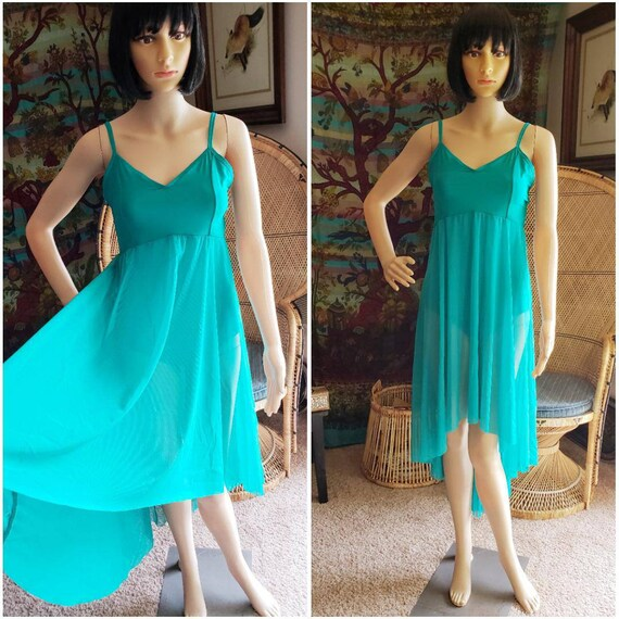 90's Teal Dance Leotard with Attached Skirt, Vinta