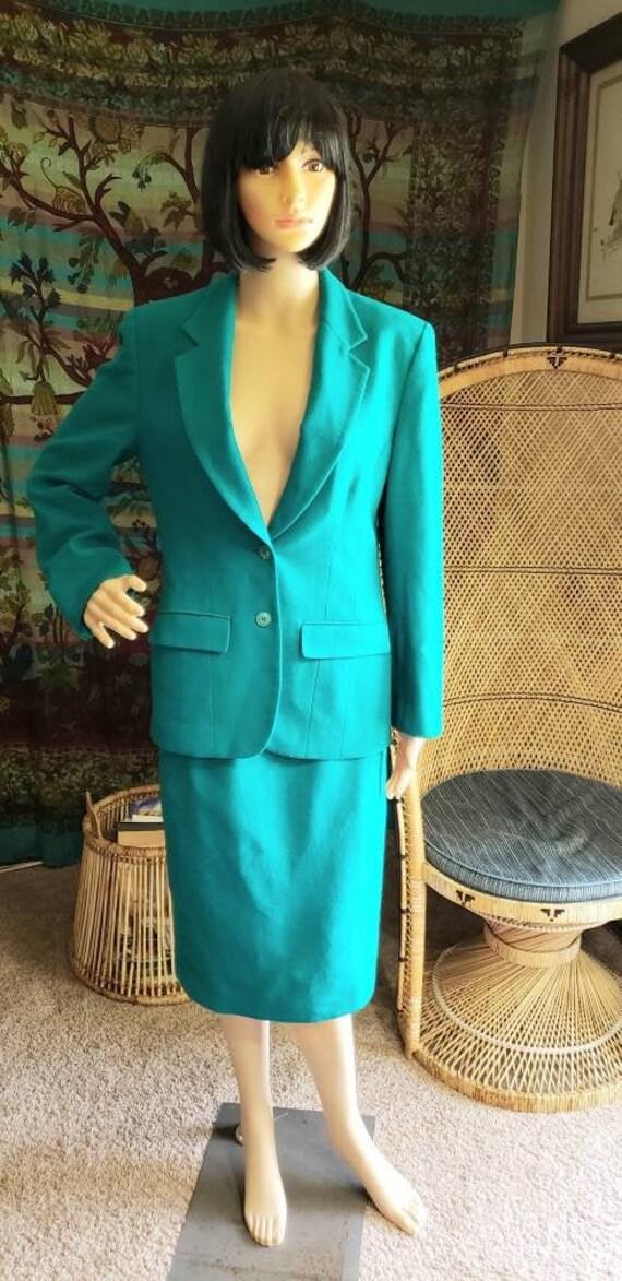 80s Teal Pendleton Suit & Skirt Set, Vintage Pendl