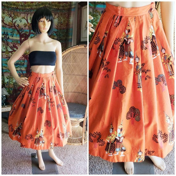 50's Asian Novelty Print Circle Skirt, Thai Dancer