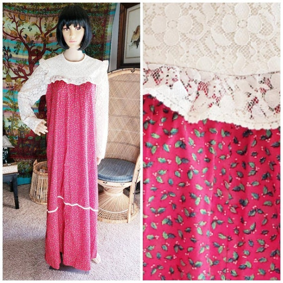 70s Holly Dress by Hilda Hawaii, Holly Print Dress