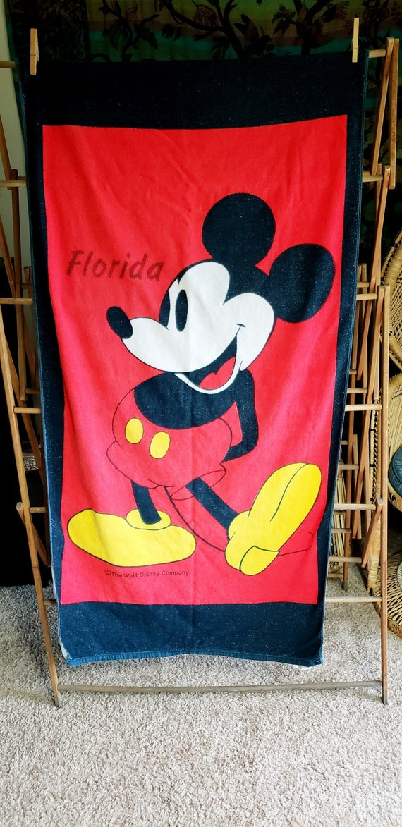 Vintage Mickey Mouse Beach Towel Florida Mickey Mouse Beach Etsy