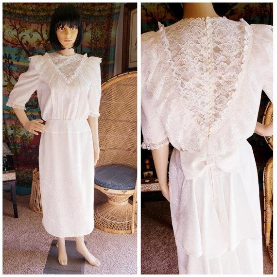 80s Cream Lace Button Down Back Dress, Vintage Cre