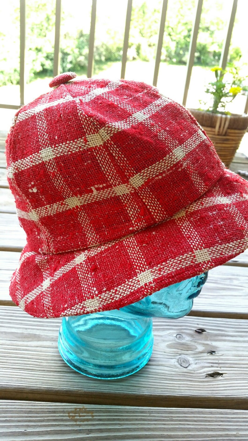 f93ac5166df 60 s Red Plaid Bucket Hat Red Checker Hat Red Plaid Hat