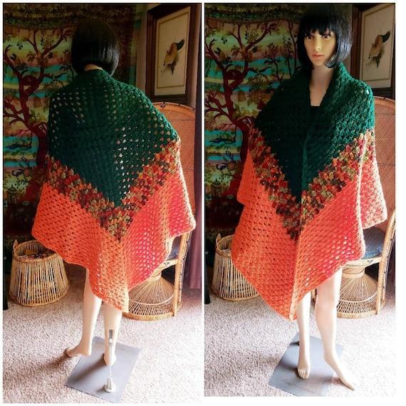 70s Long Crochet Shawl, Vintage Fall Shawl, Fall C