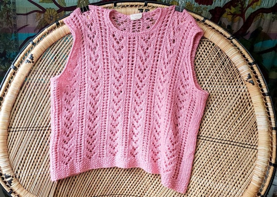 Vintage Pink Knit Sweater Vest Made Especially For