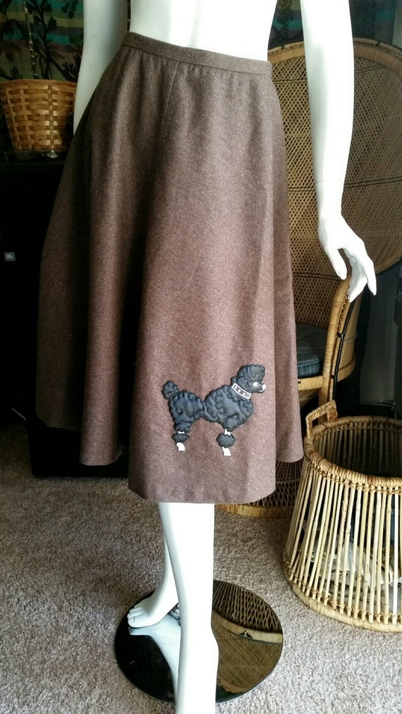 50's Brown Felt Poodle Skirt, Handmade Vintage Poo