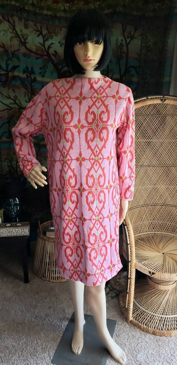 60's Pink Sweater Dress By Foxwood, Vintage Sweate