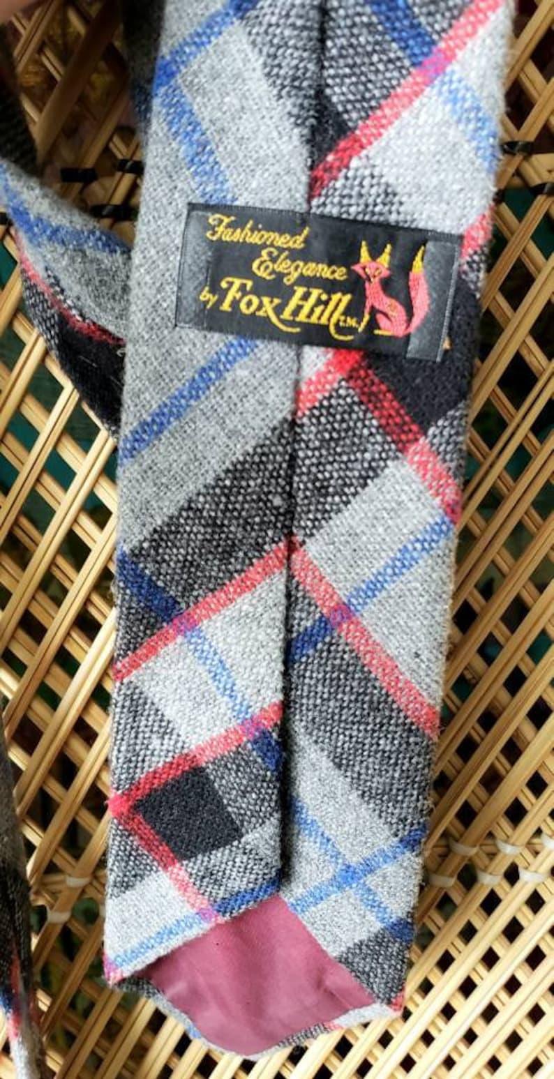 Vintage Fox Hill Tie Vintage Plaid Tie Wool Necktie 60s Wool Plaid Necktie By Fox Hill