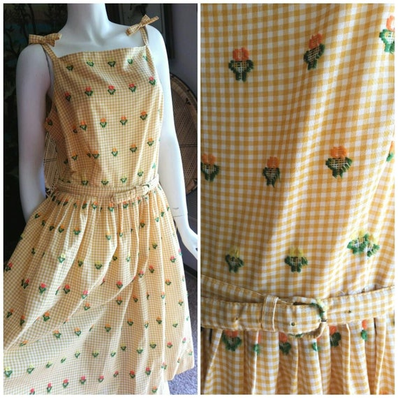 50's Gingham Flower Dress with Belt, Chenille Yell