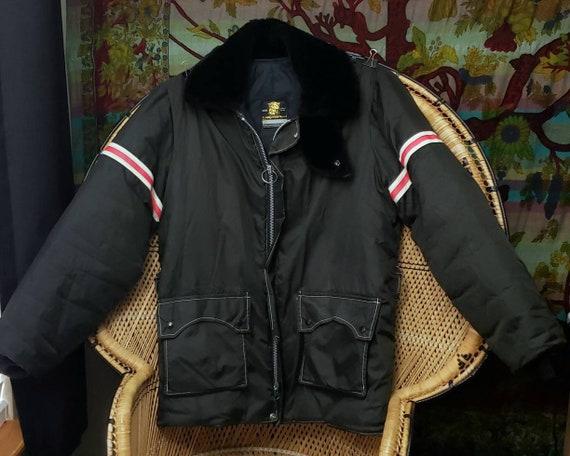 70s Men's Black Winter Coat By Stearns, Vintage St