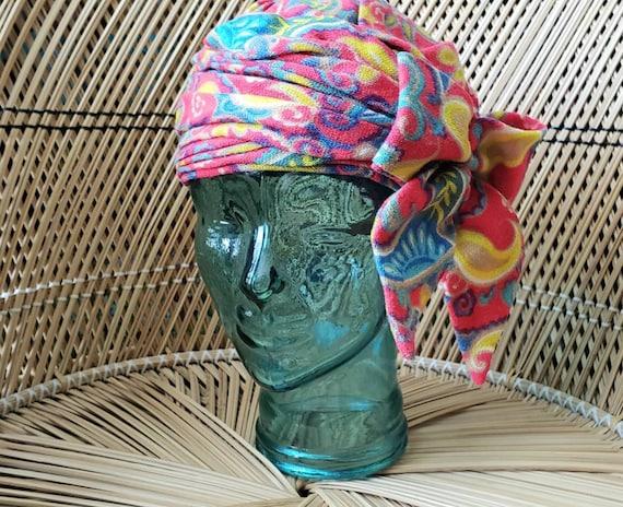 60s Gimbels Neon Hat, Vintage Neon Hat, Turban Hat