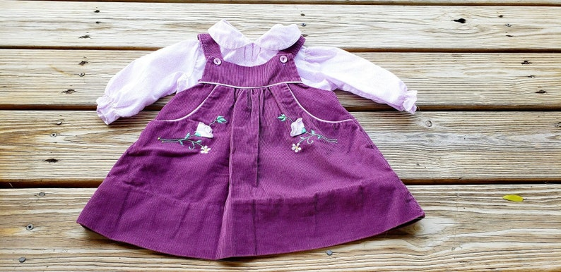 a6b6cf52306d 80's Girls Purple Corduroy Jumper Dress. Toddler Jumper | Etsy