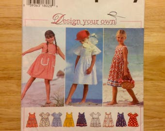 1995 little girls' dress, Simplicity 9562, child size 5, 6, 6x, Design Your Own, sleeve options, Factory Fold sewing pattern, vintage supply