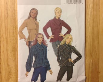 2009 women asymmetrical fitted jacket, retro-look princess seams, Butterick B5393 plus size 14 16 18 20, Factory Fold sewing pattern supply