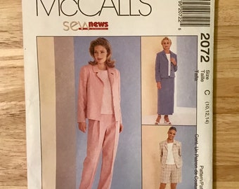 1999 wrap skirt separates pattern, women jacket, top, pants, shorts, skirt, McCall 2072 miss size 10, 12, 14, Sew News unused sewing supply