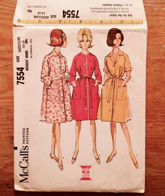 79665561bae1 1964 bathrobe duster sewing pattern McCall's 7554 miss | Etsy