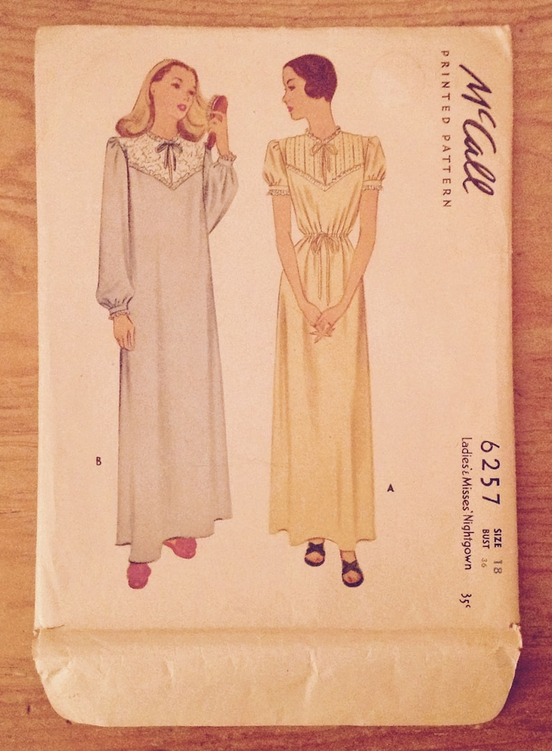 1945 Ladies nightgown sewing pattern McCall 6257 miss size  f3e535587