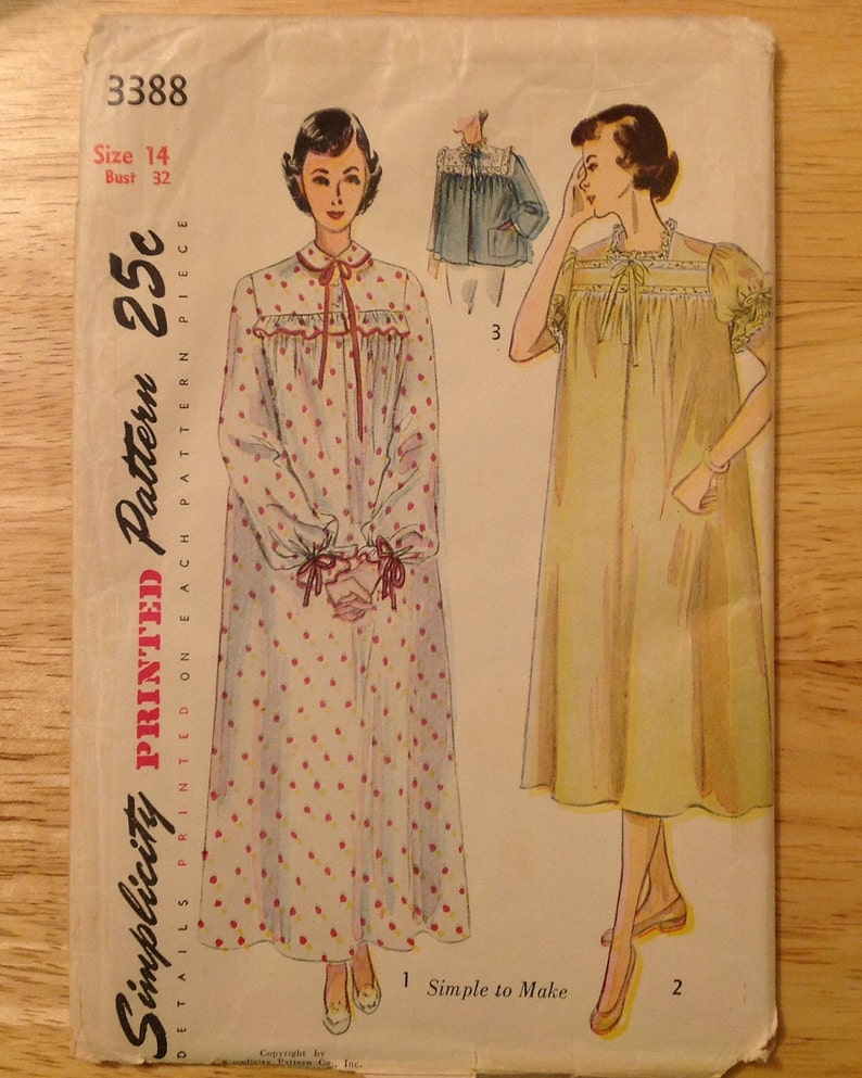 1950 bedjacket nightgown sewing pattern Simplicity 3388  e73161526