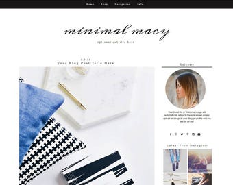 Blogger Template - Fashion Blogger Template - Responsive Blogger Design - Blogger Theme - Black and White - Minimal Macy