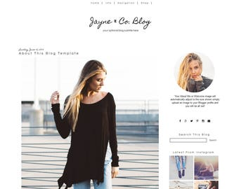 Blogger Template - Black and White Blog Template - Mobile Responsive Blogger Template - Simple Blogger Template - Instant Download