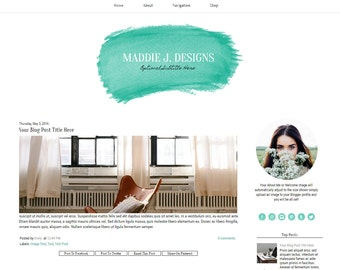 Blogger Template -Teal Watercolor Blog Template - Modern Blogger Template - Mobile Responsive