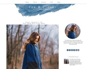 Blue Blogger Template | Watercolor Blogger Template | Responsive Blogger Design | Modern Blogger Theme | Fox & Clover