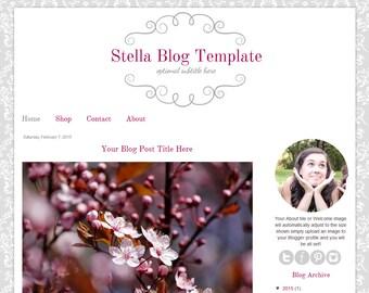 Premade Blogger Template - Grey Damask Blog Design - Stella