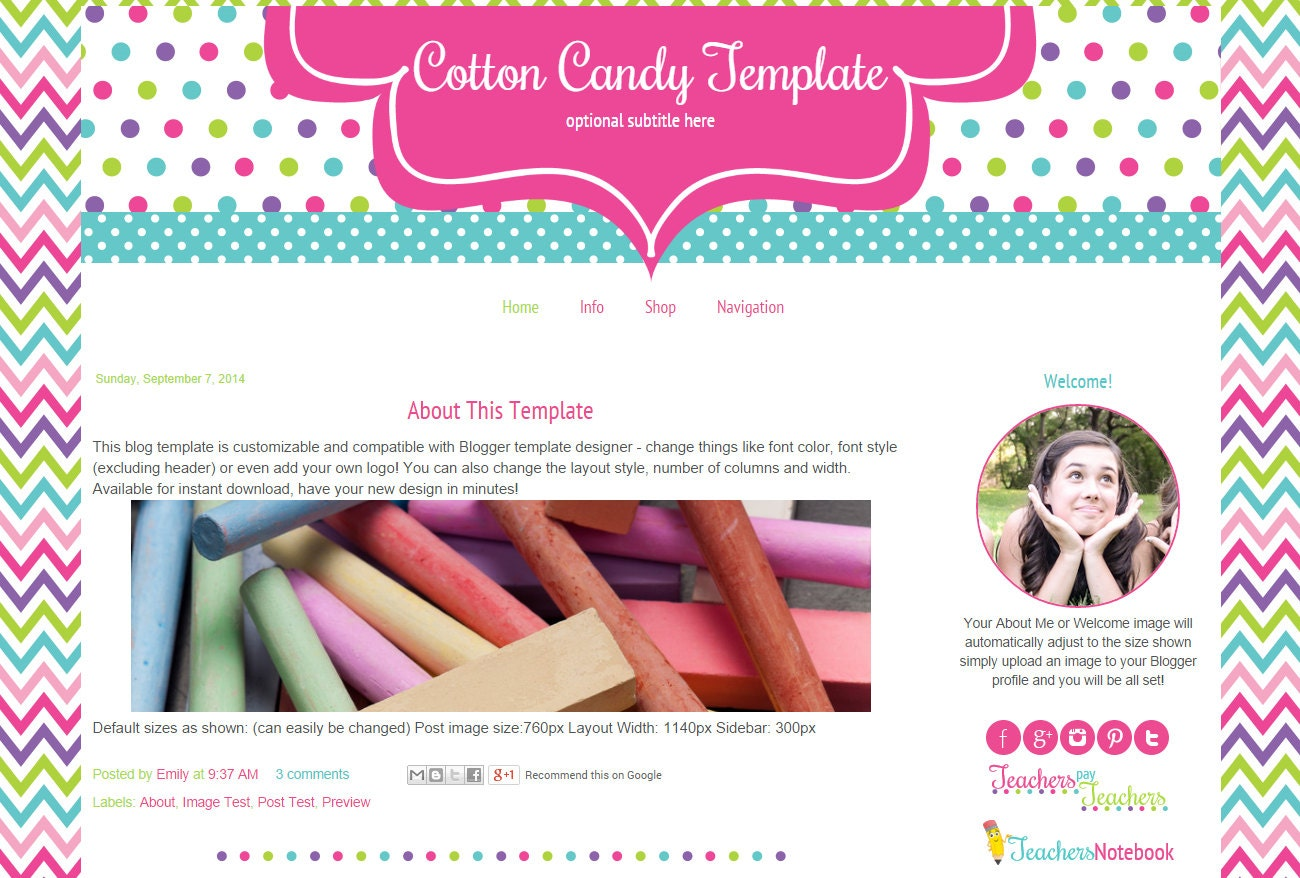Premade Teacher Blogger Template Blog Template For Teachers Etsy