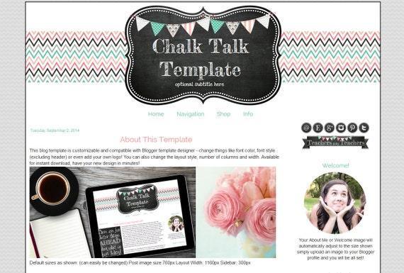 premade blogger template for teachers chalkboard blog design etsy
